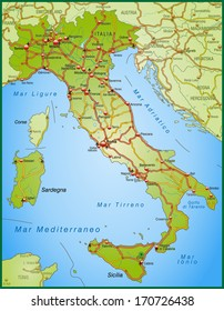 Map of Italy with highways
