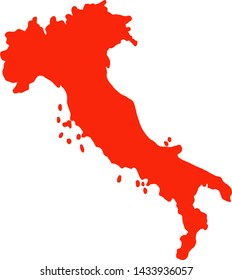 Map of Italy, red, white background