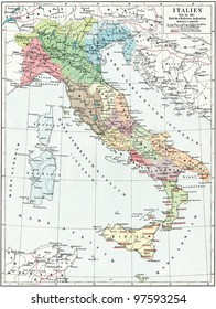 "Map of Italy, the time of Emperor Augustus. Publication of the book ""Meyers Konversations-Lexikon"", Volume 7, Leipzig, Germany, 1910"