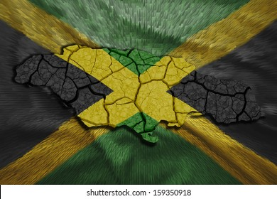 Map of Jamaica in National flag colors