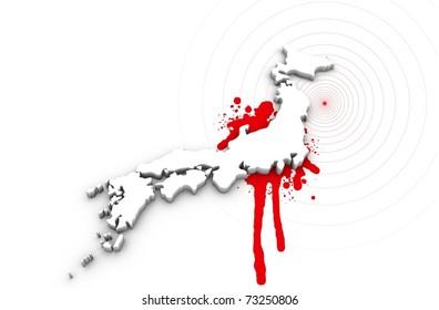 Map of Japan bleeding. Japan earthquake disaster 2011.