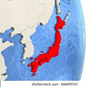 Map of Japan on globe with blue watery seas. 3D illustration