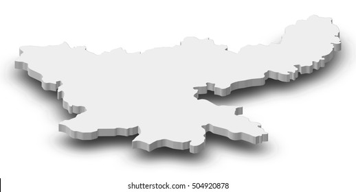 Map - Jharkhand (India) - 3D-Illustration