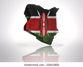 Map of Kenya with Kenyan Flag on a white background