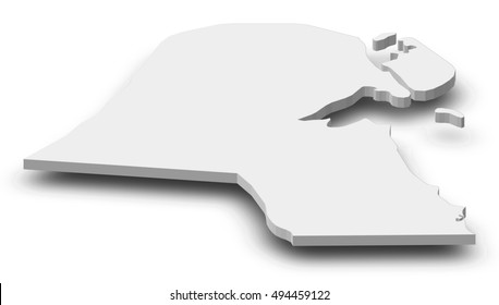 Map - Kuwait - 3D-Illustration