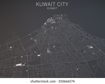 Map of Kuwait city, Kuwait, satellite view, map in 3d