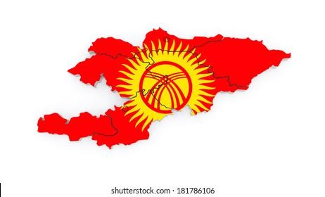 Map of Kyrgyzstan. 3d