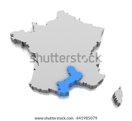 Roussillon France Map.Royalty Free Stock Illustration Of Map Languedoc Roussillon Region