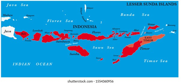 Map of the Lesser Sunda Islands in the Malay Archipelago