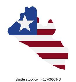 map of Liberia - flag