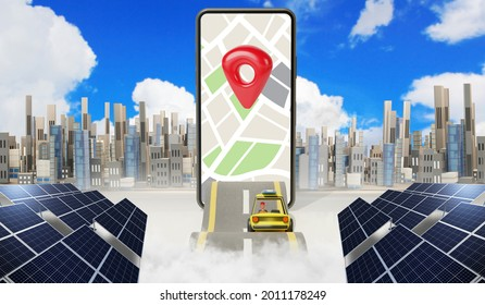 Map location,Gps point navigation, travel way, Application on smartphone, 3d rendering