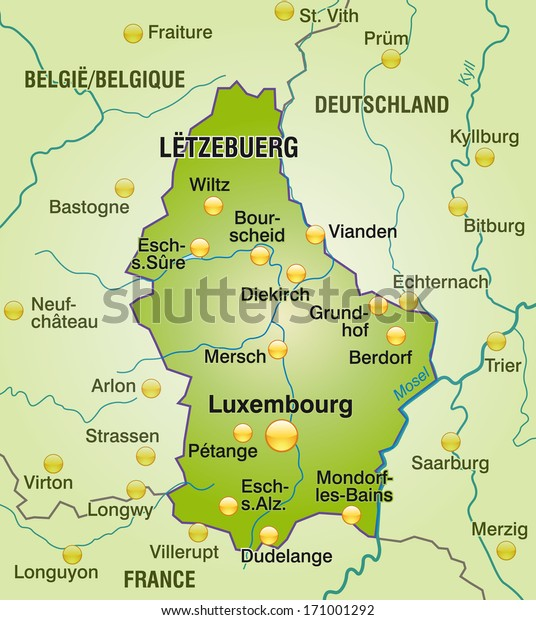 Map Luxembourg Overview Map Green Stock Illustration 171001292