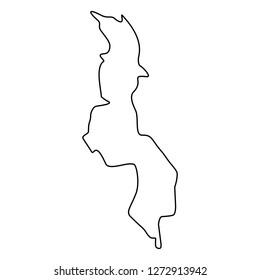 map of Malawi -outline. Silhouette of Malawi map  illustration