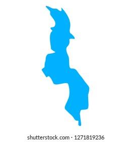 map of Malawi. Silhouette of Malawi map  illustration