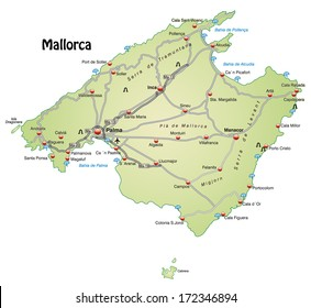 Map of Mallorca with highways in pastel green