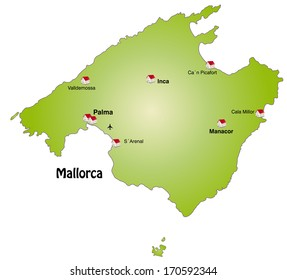 Map of Mallorca as an infographic in green