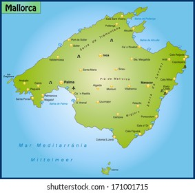 Map of mallorca as an overview map in green