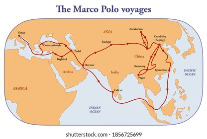 Map of the Marco Polo voyages through Asia along the Silk Road