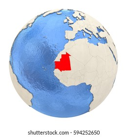 Map of Mauritania on political globe with watery oceans and embossed continents. 3D illustration isolated on white background.