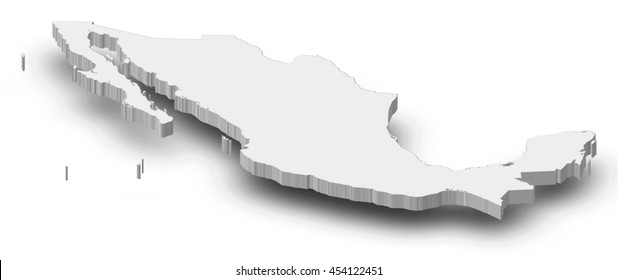 Map - Mexico - 3D-Illustration