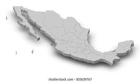 Map - Mexico - 3D-Illustration