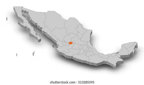 Map - Mexico, Aguascalientes - 3D-Illustration