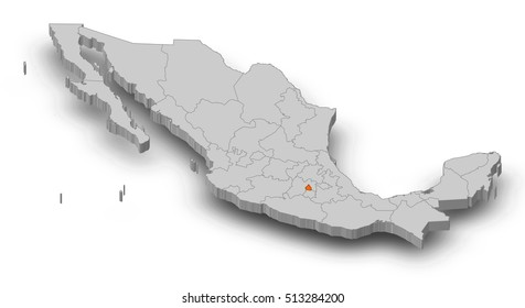 Map - Mexico, Federal District - 3D-Illustration