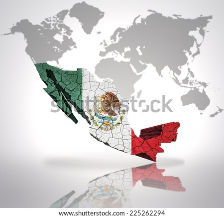 Map Mexico Mexican Flag On World Stock Illustration - Royalty Free ...
