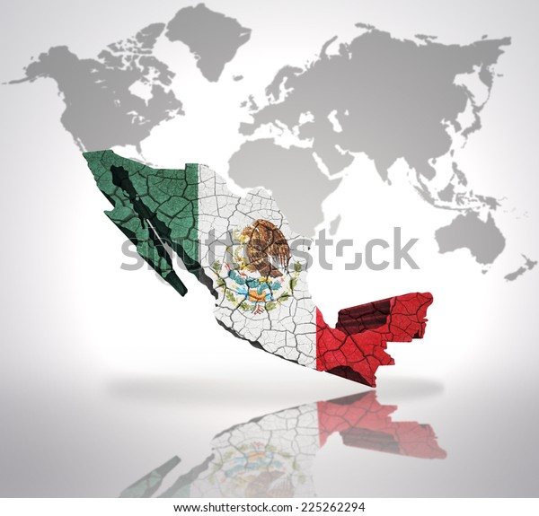 Map Mexico Mexican Flag On World Stock Illustration 225262294