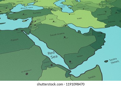 Map of Middle East, Saudi Arabia in Focus, Perspective View, Printed Green on Blue Carton Paper, Black Titles and Border Lines