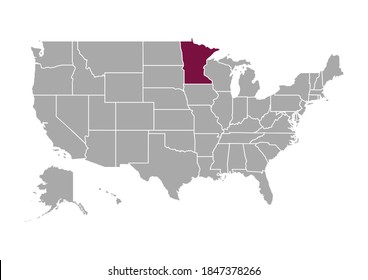 Map of Minnesota state and position in the United States