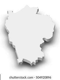 Map - Mizoram (India) - 3D-Illustration