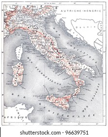 """Map of modern Italy, vintage engraved illustration. From """"The Dictionary of Words and Things"""". Published by Larive and Fleury in 1895."""