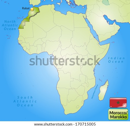 Map Morocco Main Cities Green Stock Illustration 170715005 ...