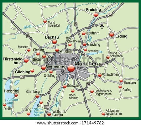 Map Munich Pastel Green Stockillustration 171449762 – Shutterstock