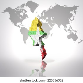 Map of Myanmar with Myanmar Flag on a world map background