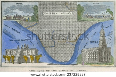 Map Nauvoo Illinois Mormon City Founded Stock Illustration 237228559