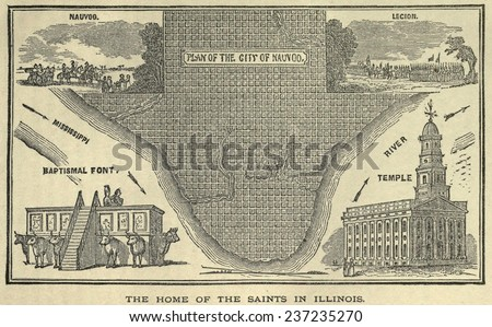 Royalty Free Stock Illustration Of Map Nauvoo Illinois Mormon City