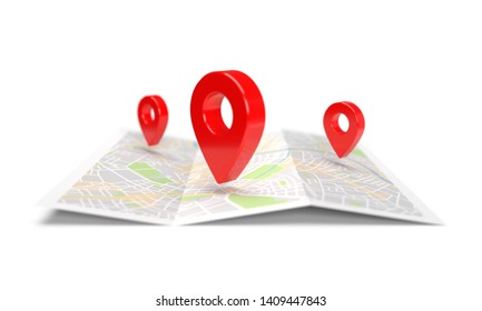 Map navigation with red pointers isolated on white background. 3D rendering
