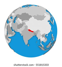 Nepal map images stock photos vectors shutterstock map of nepal highlighted in red on globe 3d illustration isolated on white background gumiabroncs Image collections