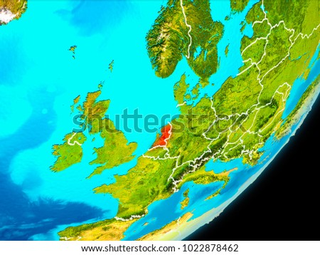 Map Netherlands Red Seen Space On Stock Illustration 1022878462 ...