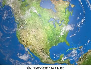 map of north america, 3D illustration
