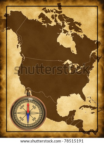America Map With Compass.Map North America Compass Stock Illustration 78515191 Shutterstock