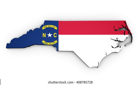 Map of North Carolina Us State with North Carolinian flag on 3D illustration shape on white background.