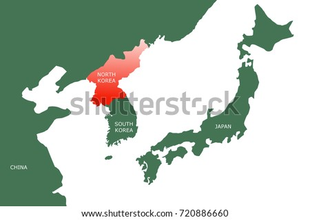Map Of Asia Korean Peninsula.Royalty Free Stock Illustration Of Map North East Asia Showing Two