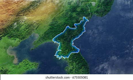 Map Of NORTH KOREA Elements of this image furnished by NASA 3D rendering 3D illustration