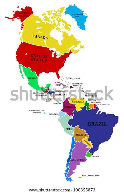 Map North South America Stockillustration 100355873