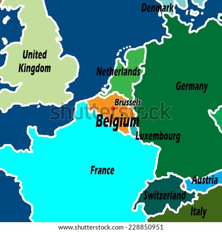 Map Of Germany And Italy With Cities.Map Northern Europe Belgium Highlighted Light Stock Illustration