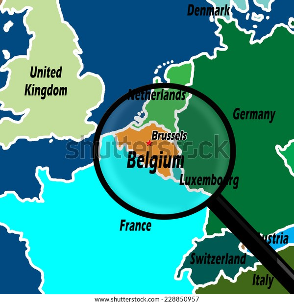 map of belgium and surrounding countries Map Northern Europe Belgium Highlighted Magnifying Stock map of belgium and surrounding countries