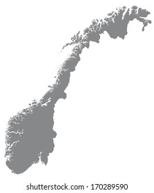 Map of Norway in gray